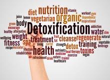 Облако и рука слова Detoxification с концепцией отметки стоковые изображения