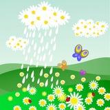 Облако маргариток с дождем бесплатная иллюстрация