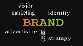 Облако слова концепции бренда на черной предпосылке иллюстрация штока