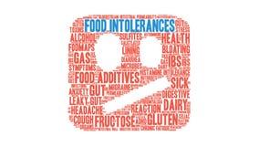 Облако слова нетерпимостей еды оживленное иллюстрация вектора
