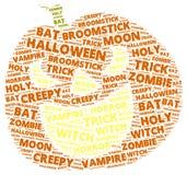 Облако слова хеллоуина в форме оранжевой тыквы Стоковая Фотография