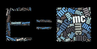 Облако слова E=mc2 на черноте Стоковая Фотография RF
