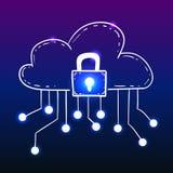 Облако с замком безопасностью, стилем doodle бесплатная иллюстрация