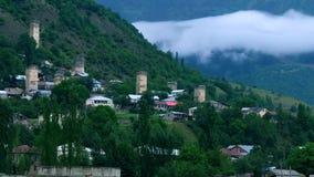 Облако тумана поднимая от coniferous леса, Mestia, Georgia акции видеоматериалы