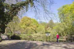 Область Дортмунда, Рура, северный Рейн Вестфалия, Германия - 16-ое апреля 2018: Парк Ромберга часть европейской сети сада стоковое изображение rf