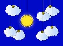 Облачное небо вектора, солнечная погода, прикалыванные облака выреза и Солнце, вися детали иллюстрация штока