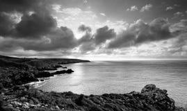 Облачное небо в побережье Finistere стоковые фотографии rf