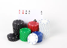 Обломоки казино и карточки покера Стоковое Изображение RF