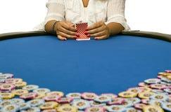 обломоки карточек играя женщину покера Стоковая Фотография