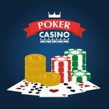 Обломок и карточки играя денег развлечений клуба казино покера иллюстрация вектора