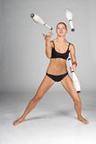 облыселая возглавленная девушка жонглирует стоковое изображение