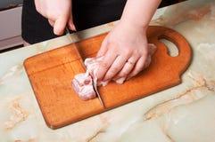 облыселая нервюра мяса вырезывания Стоковое Фото