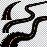 Обматывая изогнутые дорога или шоссе с маркировками Направление, комплект транспорта также вектор иллюстрации притяжки corel бесплатная иллюстрация