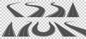Обматывая изогнутые дорога или шоссе с маркировками иллюстрация вектора