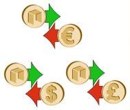 Обменяйте нео к доллару, евро и английскому фунту иллюстрация вектора