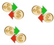 Обменяйте пульсацию к доллару, евро и английскому фунту иллюстрация штока