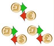 Обменяйте черточку к доллару, евро и английскому фунту бесплатная иллюстрация