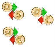 Обменяйте черточку к доллару, евро и английскому фунту иллюстрация штока