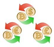 Обменяйте bitcoin к доллару, евро и английскому фунту иллюстрация штока