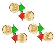 Обменяйте bitcoin к доллару, евро и английскому фунту бесплатная иллюстрация