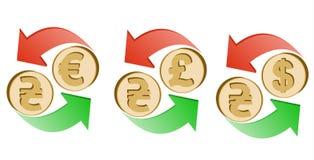 Обменяйте hryvnia к евро, фунту стерлинга и доллару иллюстрация вектора