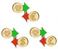 Обменяйте iota к доллару, евро и английскому фунту иллюстрация вектора
