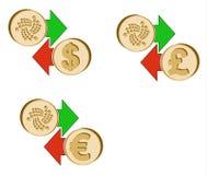 Обменяйте iota к доллару, евро и английскому фунту иллюстрация штока