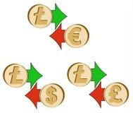Обменяйте litecoin к доллару, евро и английскому фунту иллюстрация штока