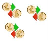 Обменяйте litecoin к доллару, евро и английскому фунту бесплатная иллюстрация