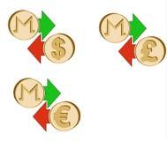 Обменяйте monero к доллару, евро и английскому фунту иллюстрация вектора