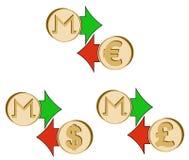 Обменяйте monero к доллару, евро и великобританскому poun иллюстрация штока