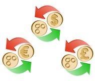 Обменяйте omisego к доллару, евро и английскому фунту иллюстрация штока