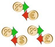 Обменяйте omisego к доллару, евро и английскому фунту иллюстрация вектора