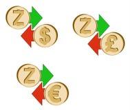 Обменяйте zcash к доллару, евро и английскому фунту иллюстрация вектора