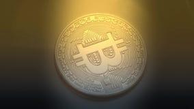 Обмен денег сети шифрования секретной валюты blockchain Bitcoin цифровой Одна монетка Bitcoin акции видеоматериалы