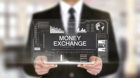 Обмен денег, интерфейс Hologram футуристический, увеличенная виртуальная реальность иллюстрация вектора