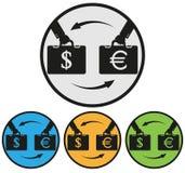 Обмен денег, долларов для евро Стоковая Фотография RF