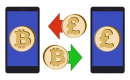 Обмен между bitcoin и английским фунтом бесплатная иллюстрация