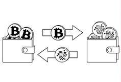 Обмен между bitcoin и iota в бумажнике иллюстрация штока