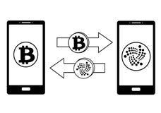 Обмен между bitcoin и iota в телефоне иллюстрация штока