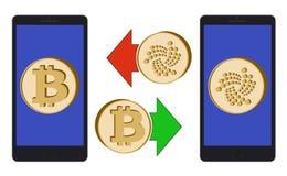 Обмен между bitcoin и iota в телефоне иллюстрация вектора