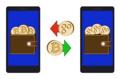 Обмен между bitcoin и omisego в телефоне иллюстрация вектора