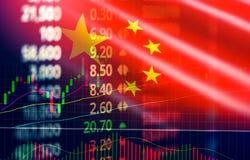 Обмен фондовой биржи Китая/фондовая биржа Шанхая индикатор валют анализа диаграммы изменений стоковое изображение rf