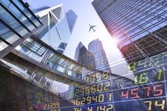 Обмен фондовой биржи на небоскребе в Гонконге стоковые изображения rf