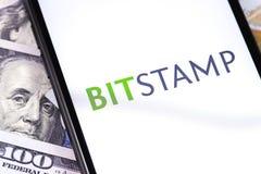 Обмен cryptocurrency Bitstamp стоковое фото rf