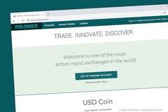 Обмен cryptocurrency Poloniex и торгуя платформа Торгуйте, innovate, откройте стоковые фотографии rf