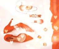 Обмундирование аксессуаров женщины моды установило ткань щеток макияжа ювелирных изделий пяток косметическую на предпосылке в цве стоковые изображения rf