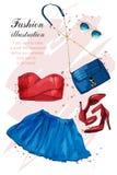 Обмундирование моды Стильная ультрамодная одежда: оденьте, верхняя часть урожая, солнечные очки, сумка Установленные одежды, аксе иллюстрация штока