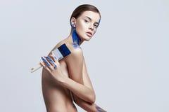 Обнажённая девушка с тел-искусством Стоковое фото RF
