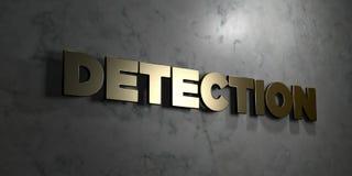 Обнаружение - знак золота установленный на лоснистой мраморной стене - 3D представило иллюстрацию неизрасходованного запаса корол иллюстрация вектора